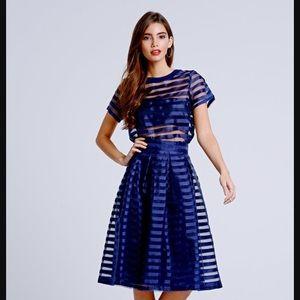 Indigo ribbon stripe sheer overlay top mesh zip-up